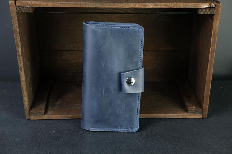 Кожаный кошелек Нова, кожа Crazy Horse, цвет Синий