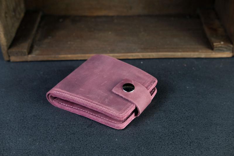 Портмоне на застежке с монетницей, Кожаный кошелек, кожа Crazy Horse, цвет Бордо