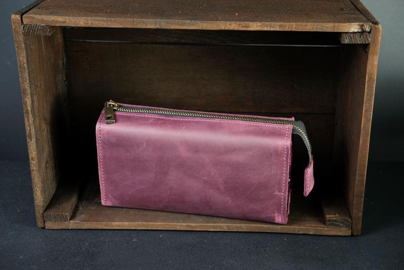 Кожаный кошелек Тревел, кожа Crazy Horse, цвет Бордо