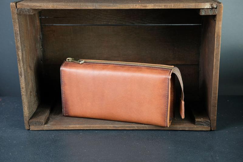Кожаный кошелек Тревел, кожа итальянский краст, цвет Коричнеый