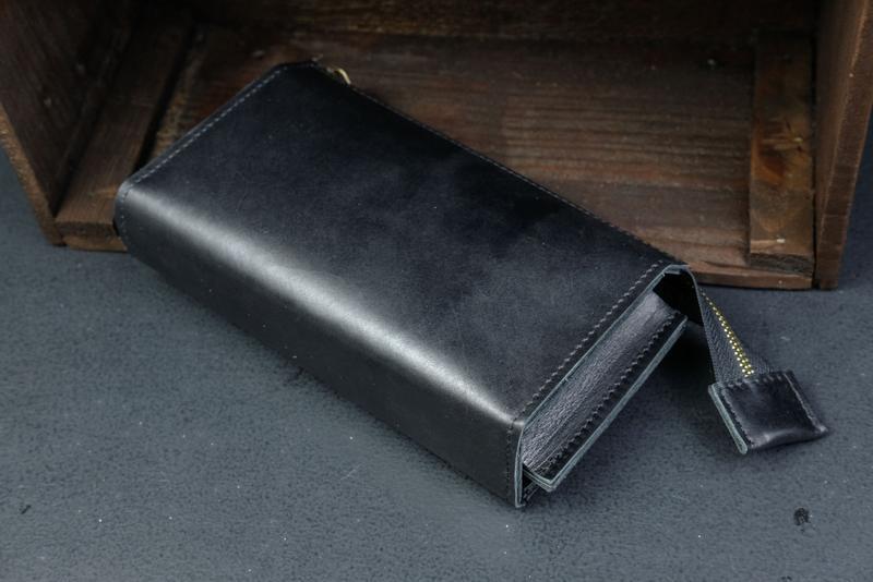 Кожаный кошелек Тревел, кожа итальянский краст, цвет Черный