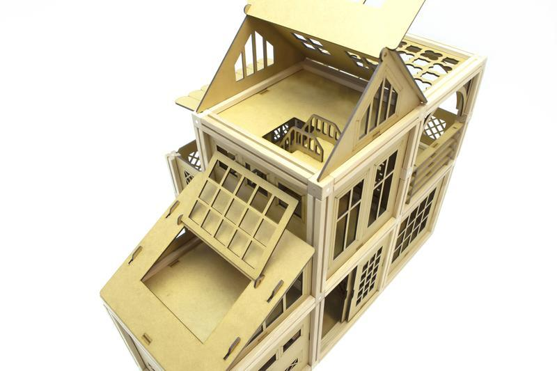 Деревянный магнитный конструктор Woodyco Большая Семья Игровая Площадка (396 деталей)