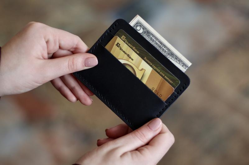 Картхолдер кожаный, мини-кошелек из натуральной кожи_черный_180