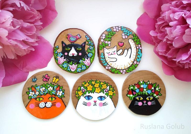 Брошь Кошка Рисунок котика Роспись на спиле дерева Милое украшение Магнит Брошка для девушки Подарок