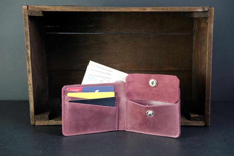 Классическое портмоне с монетницей, Кожаный кошелек, кожа Crazy Horse, цвет Бордо