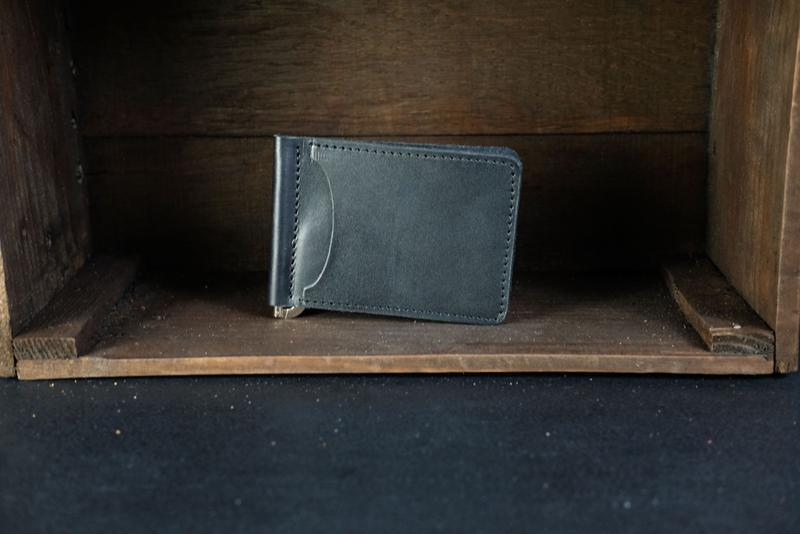 Кожаный зажим для денег, кожа итальянский краст, цвет Черный