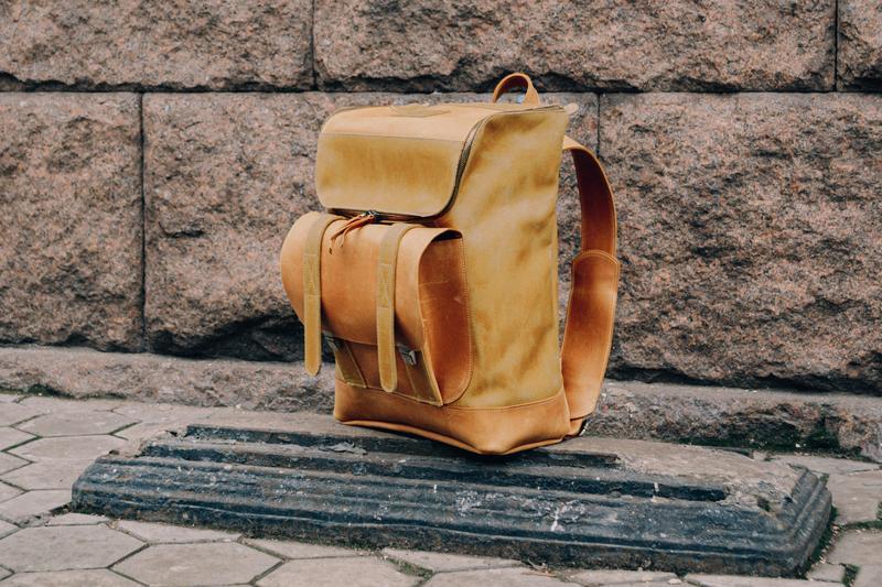 Рюкзак из винтажной кожи для ноутбука 15 дюймов