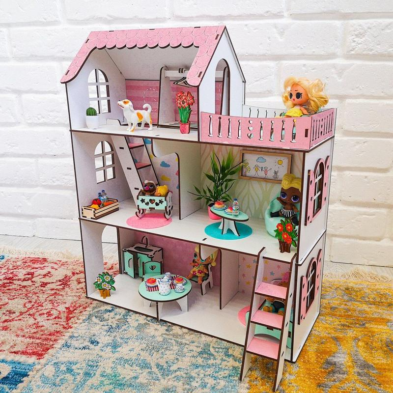 Кукольный домик ′МИНИ ДАЧА′ для кукол LOL (ЛОЛ), 5 комнат (этаж - 15см)