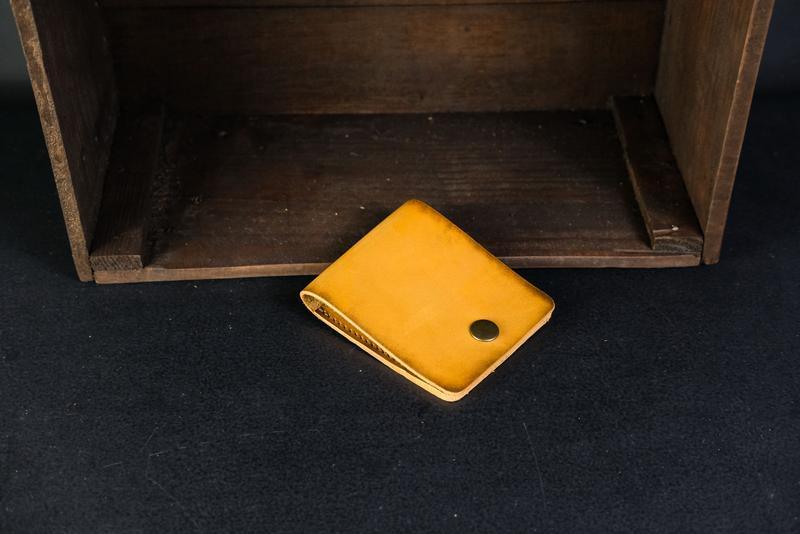 Кожаный кошелек Жорик, кожа итальянский краст, цвет Янтарь