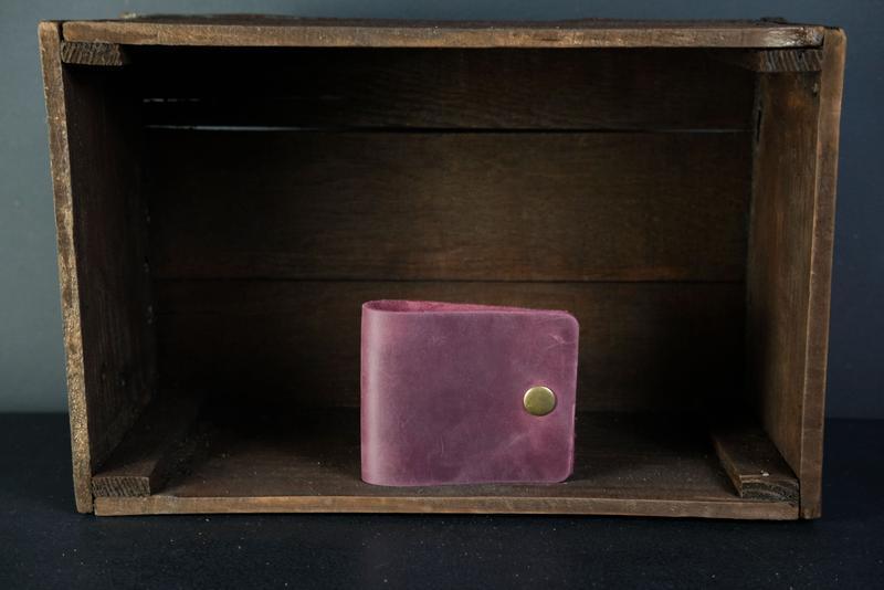 Шкіряний гаманець Жорик, шкіра Crazy Horse, колір Бордо