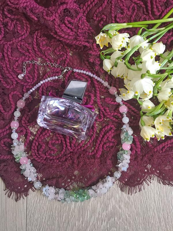 Бусы «Цвет сакуры»:кварц, флюорит