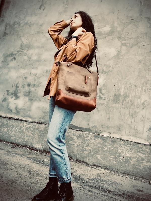 "Шкіряна сумка шоппер "" VIRGINIA ""/ сумка месенджер / сумка Тоте"