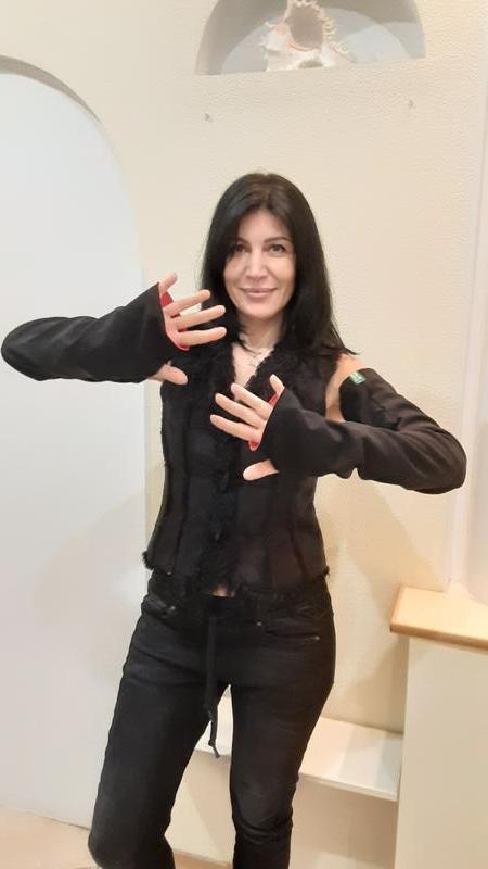 Рукава митенки чёрные с красным Супер длинные для любого жилета, безрукавки, пальто