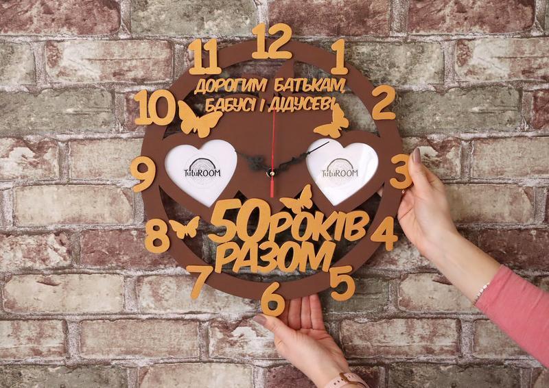 Деревянный коллаж, часы, семейная рамка