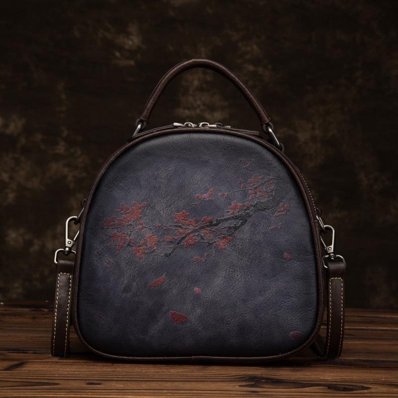 Кожаная сумка крос-боди с рисунком цветочного дерева