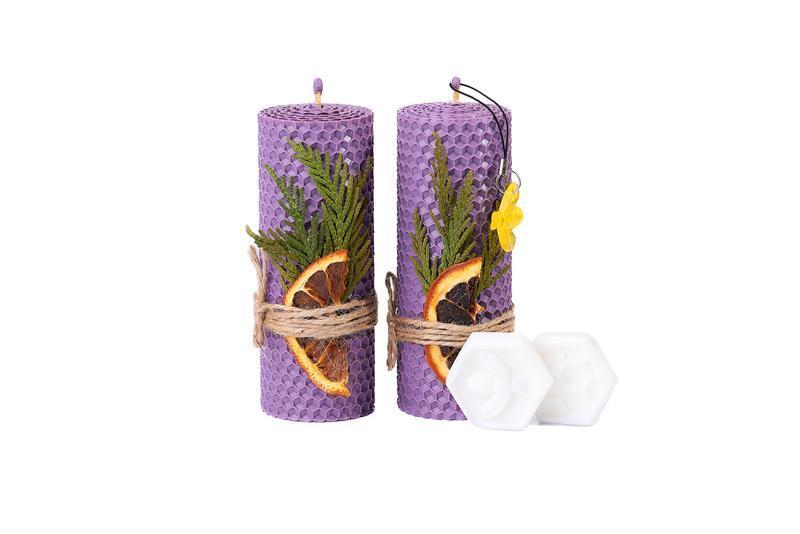 Сувенирный набор свечей бузкового цвета из цветной вощины для подарков гостям и декора дома и свят