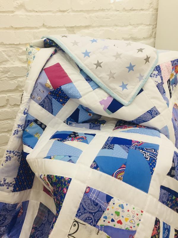 одеяло пэчворк-звезды-голубое лоскутное одеяло-стеганное покрывало-подарок для мамы
