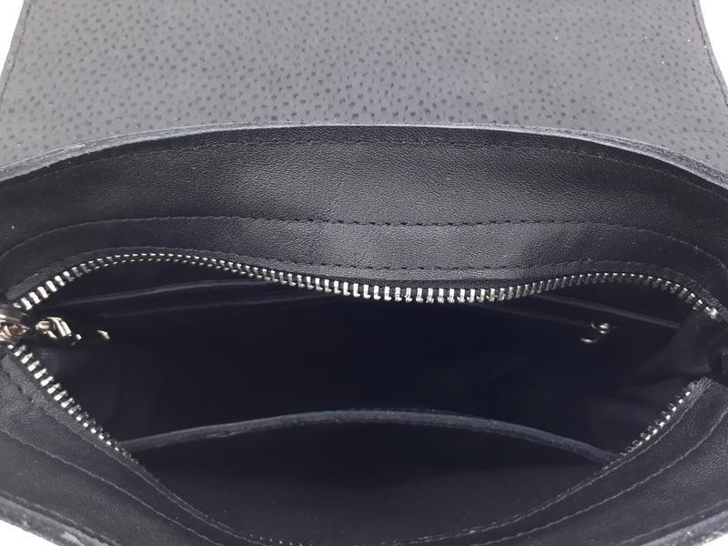 """Классическая мужская сумка с клапаном """"Шафран"""" (черная)"""