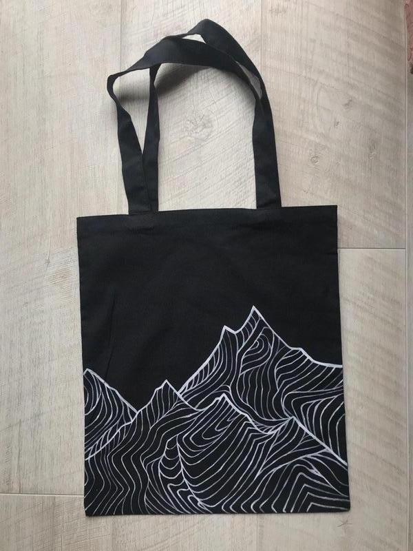 Чёрная Эко сумка шоппер с горами
