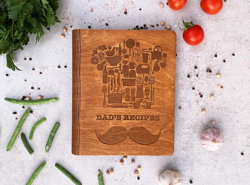 Дерев'яна кулінарна книга для запису рецептів для чоловіків