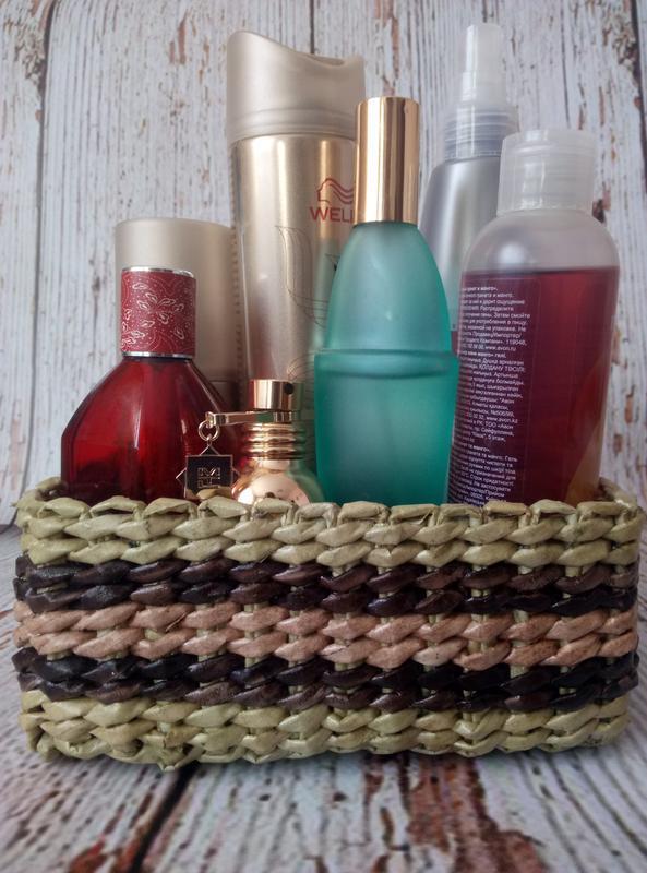 Короб для хранения(плетеный из бумажной лозы)