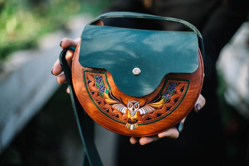 """Женская деревянная сумка """"Сова"""""""
