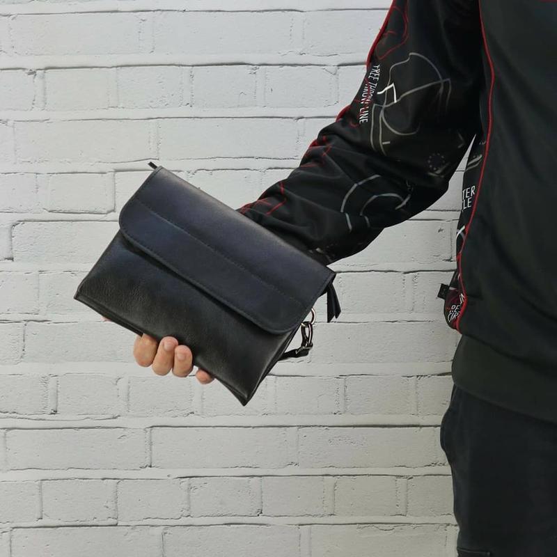 Сумка мужская маленькая барсетка клатч черная из натуральной кожи