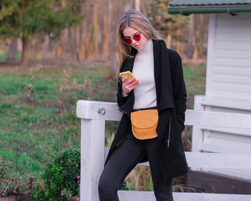 Жіноча сумка з якісної натуральної шкіри жовтий
