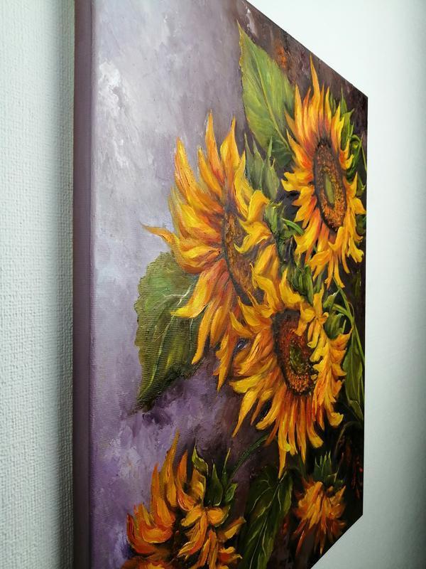 "Картина маслом ""Подсолнухи"" 45х35 см, холст на подрамнике, масло"