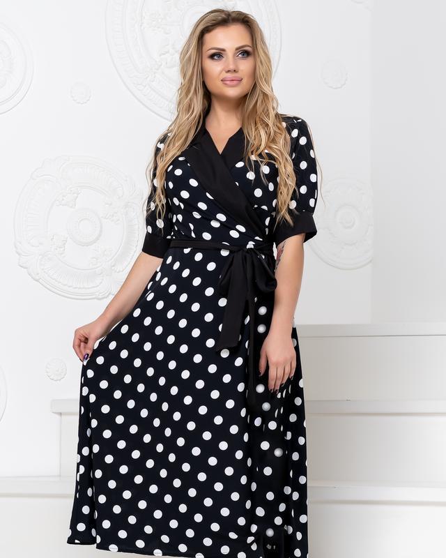 Платье батал NOBILITAS 50 - 56 черное хлопок (арт. 20019)