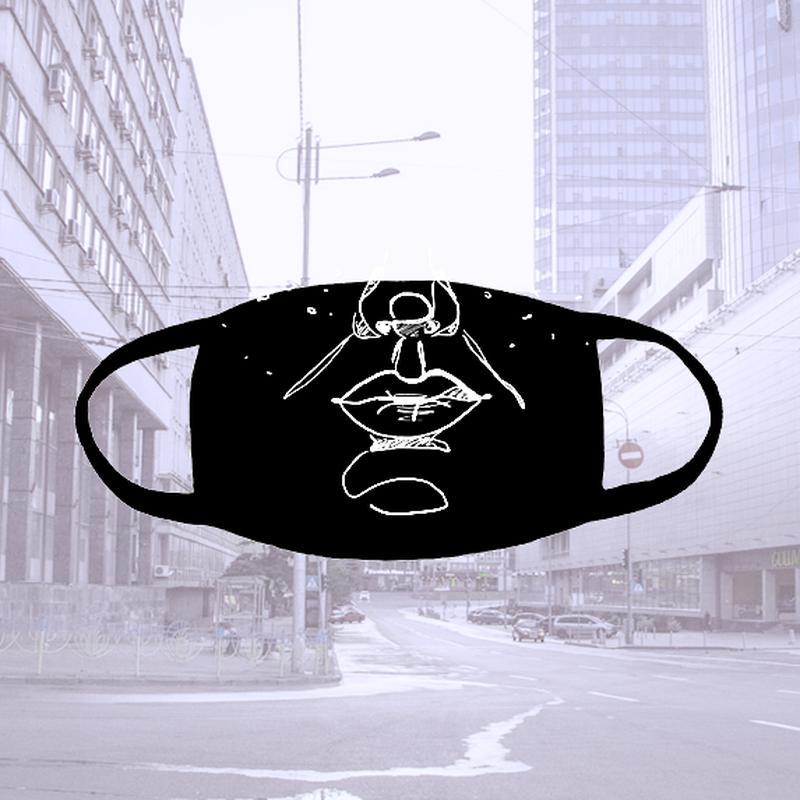 Многоразовая черная тканевая маска с лицом
