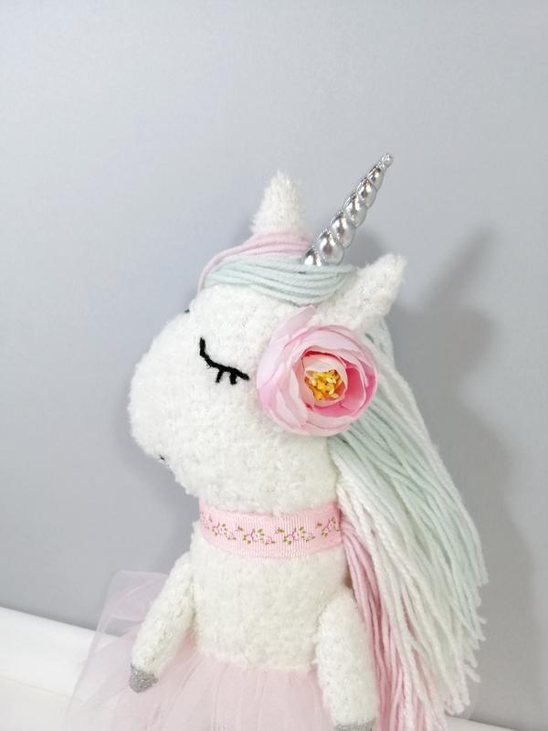 Белая единорожка балерина Мягкая белая лошадка Радужный единорог Игрушка декор розовый