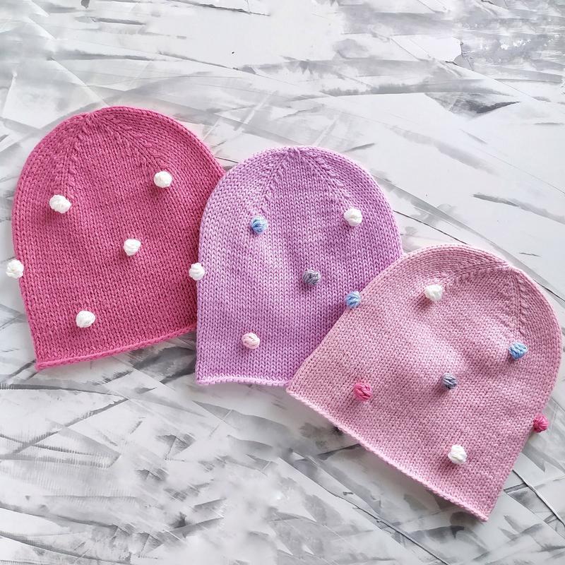 Детский комплект, розова шапка снуд , шапка с горошками