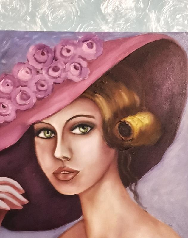 Живопись, Дама в шляпе,холст размер 40х50см