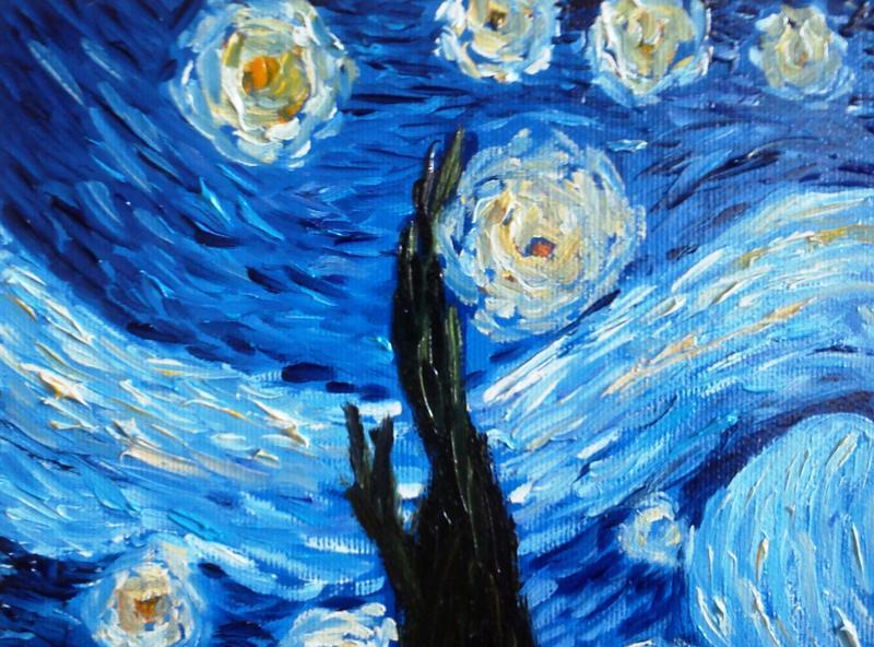 """Картина """"Звездная ночь"""", свободная копия Винсент ван Гог, масло, холст на подрамнике, 30*40"""