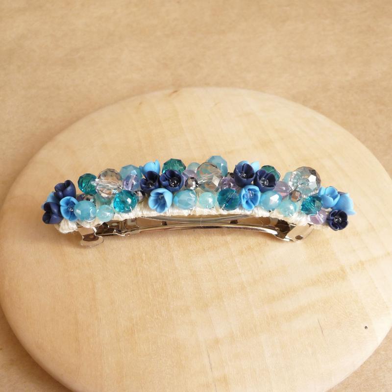 Голубая заколка для волос с цветами, украшения для волос, подарок девушке