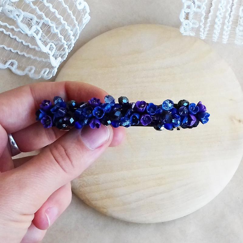 Сине фиолетовая заколка для волос с цветами, украшения для волос, подарок девушке