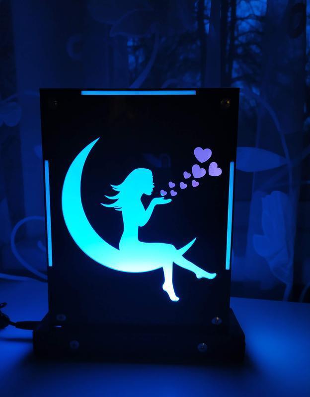 Декоративный настольный ночник Девушка на луне, теневой светильник, несколько подсветок