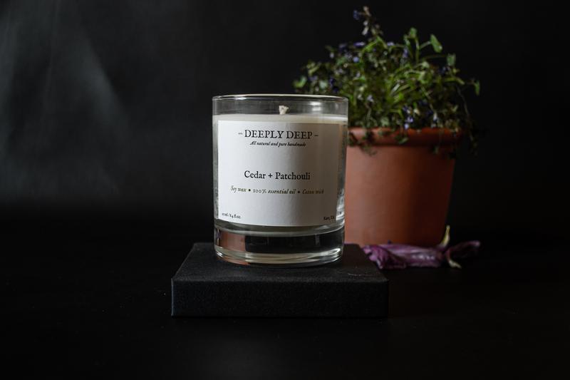 Ароматическая свеча Кедр + Пачули
