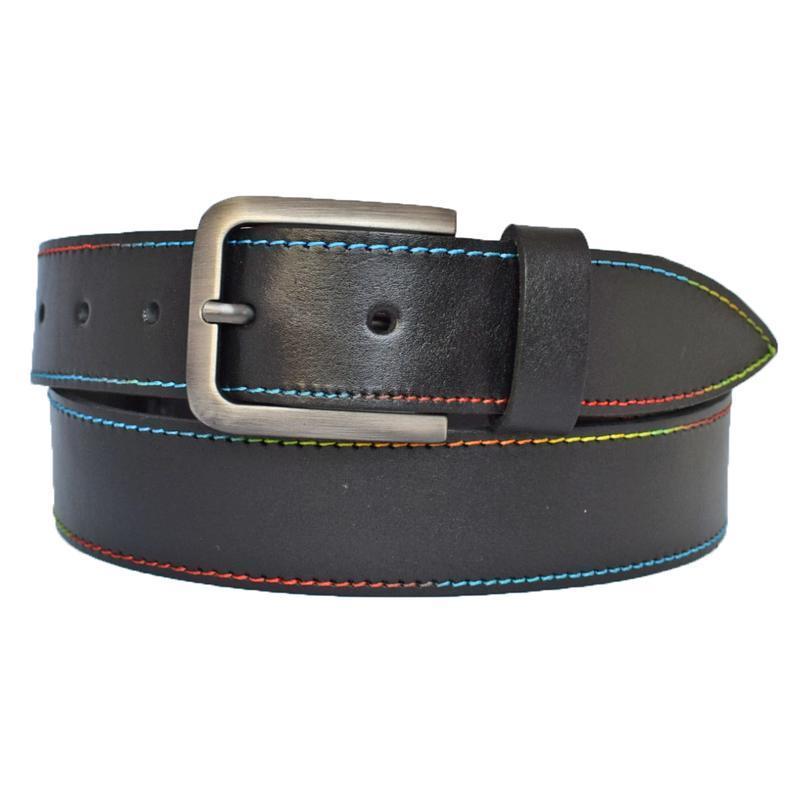 Rainbow3 кожаный женский ремень черный с цветной строчкой для джинсов