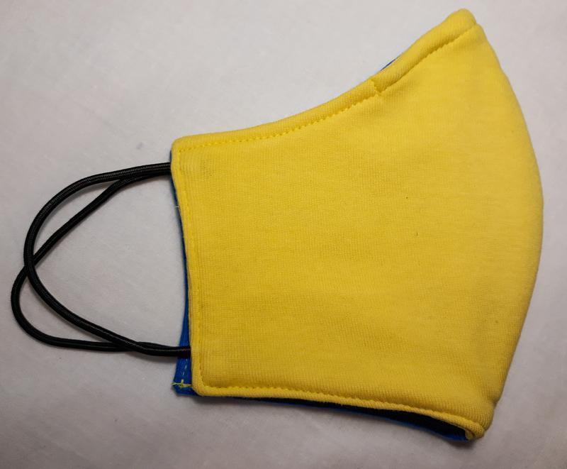 Маска бавовняна багаторазова жовто-блакитна
