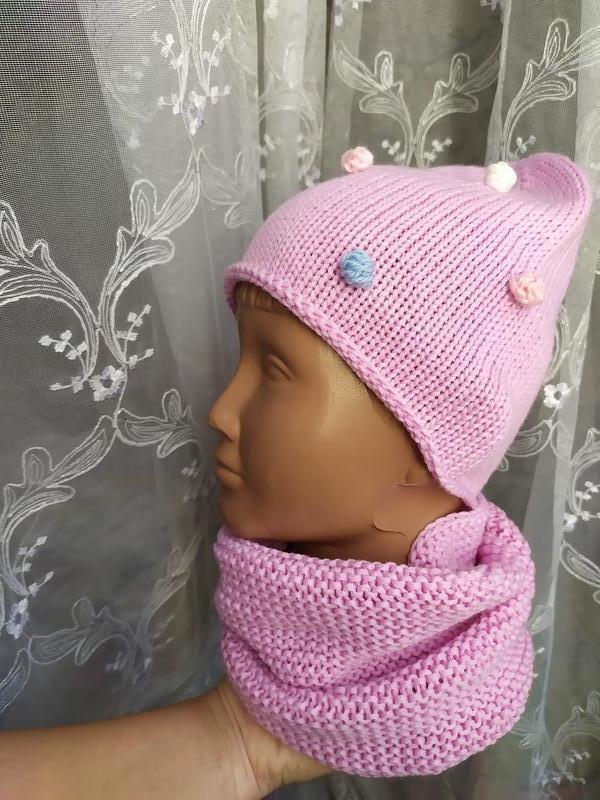 Дитяча шапочка на осінь, шапочка в горошки