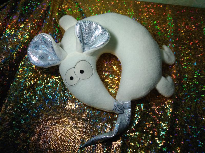 Белая Мышь, подушка игрушка