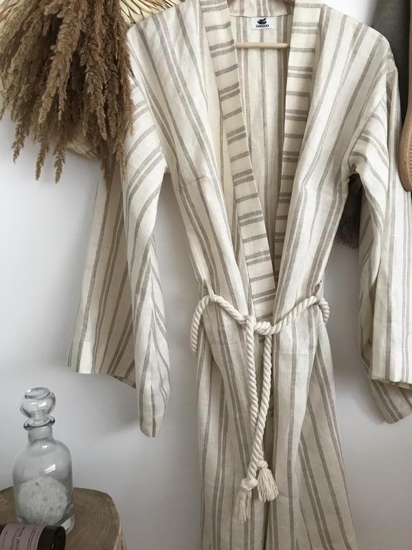 Халат-кимоно для дома, льняной халат, халат из льна, халат натуральный, домашний халат, льняной халат