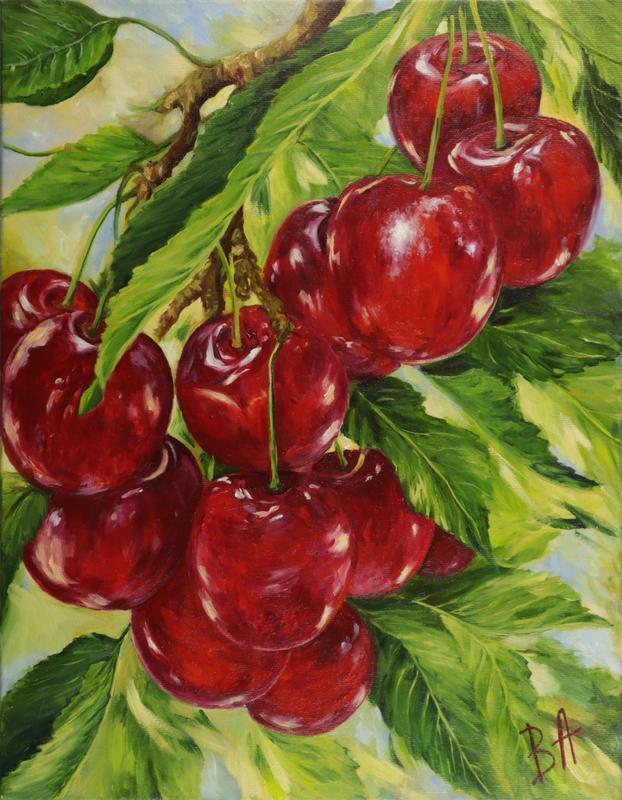 "Картина маслом ""Черешня"" 45х35 см, холст на подрамнике, масло"