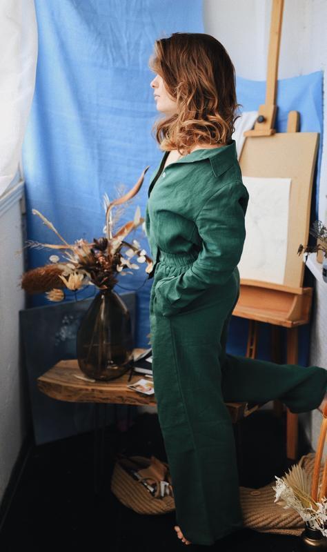 Рубашка с классическим воротничком и брюками, домашний костюм, костюм из льна для дома