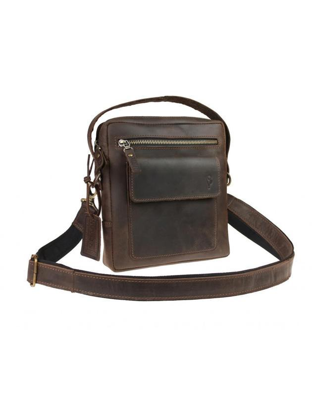 Мужская коричневая кожаная сумка - барсетка на плечо 713530