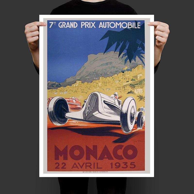 Винтажный постер реплика Автомобильное Гран При Монако 1935 год