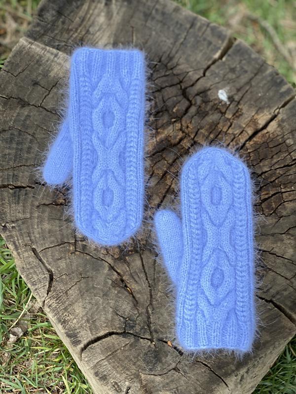 Вязаный Варежки из Пряжи Пух Норки, Вязаные Рукавички