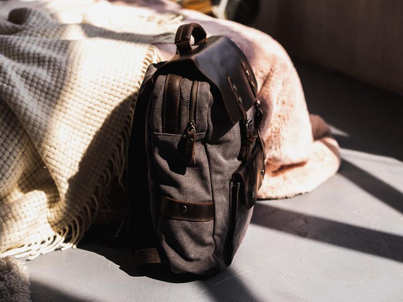 Городской стильный рюкзак Manchester. Унисекс. Премиальный хлопок и нат. кожа Crazy Horse. Подарок